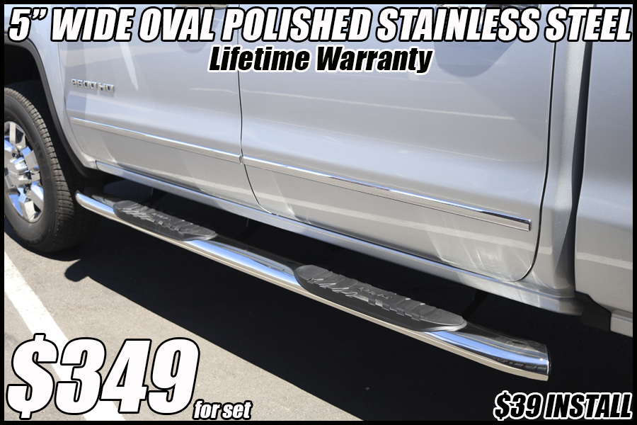 5 inch oval polished stainless steel running boards