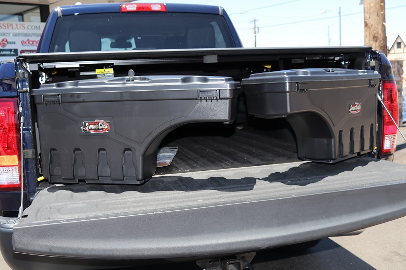 Swingout toolboxes for truck bed