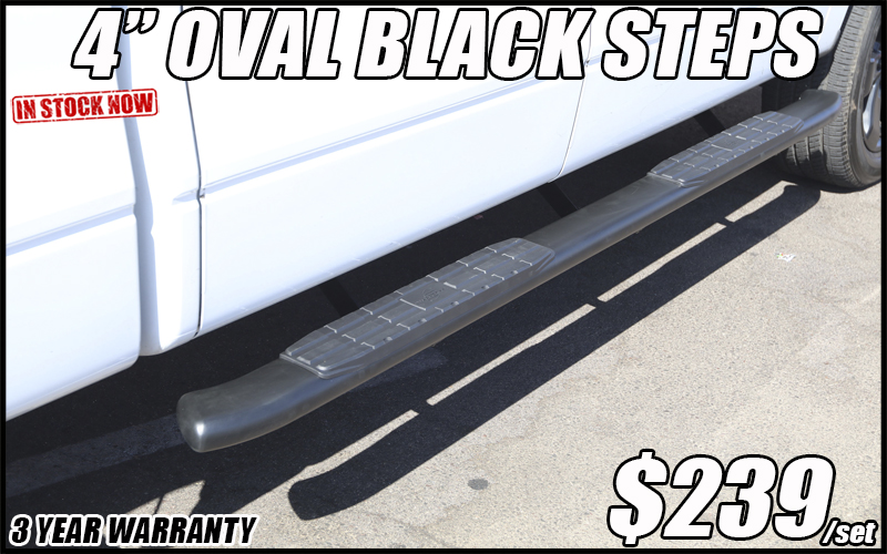 4 inch oval running boards black nerf bars